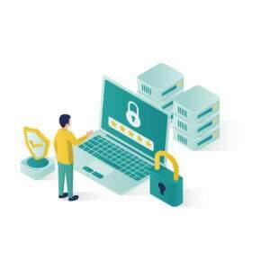 isometric data security illustration, people data security in isometric style design